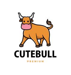 cute bull cartoon logo icon vector image