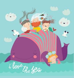 cute little mermaids with big whale in blue vector image