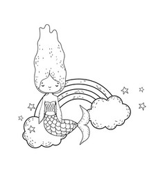 Cute mermaid with clouds and rainbow vector
