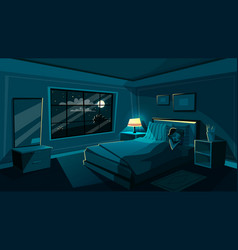 Cute young woman sleeping bedroom at night vector
