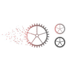 Damaged pixel halftone tooth wheel icon vector