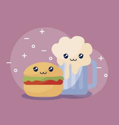 delicious hamburger with beer kawaii character vector image