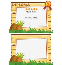 Diploma template with wooden board on grass vector
