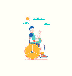 disabled man in a wheelchair holding a basketball vector image