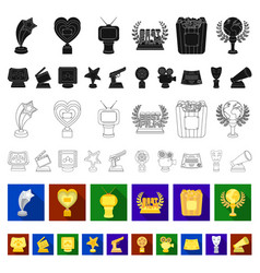 film awards and prizes flat icons in set vector image