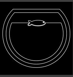 fish in round aquarium white color path icon vector image