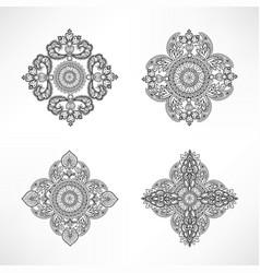 flower oriental set floral geometric ornament vector image