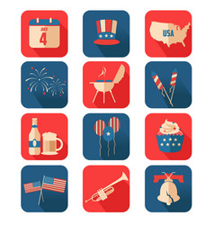 Fourth of july icons vector