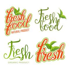 fresh food sign set organic food local vector image