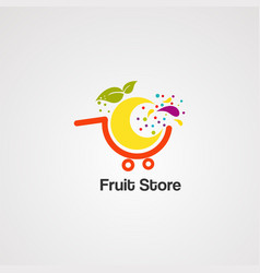 fruit store logo icon element and template vector image