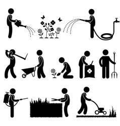 gardening work plant flower grass pictograph icon vector image