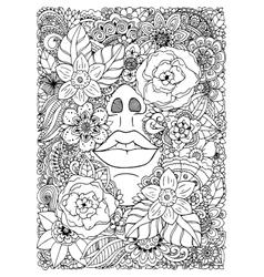 Girl drowned in flowers vector