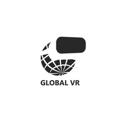 global vr logo planet earth with glasses virtual vector image