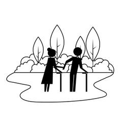 grandparents couple in landscape avatars vector image