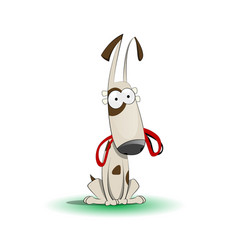 happy cartoon puppy with leash vector image