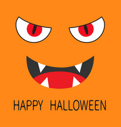 Happy halloween evil red eyes smiling wicked vector