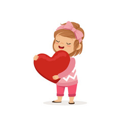 Happy lovely little girl holding red heart happy vector