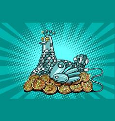 Hen incubates electronic money bitcoin vector