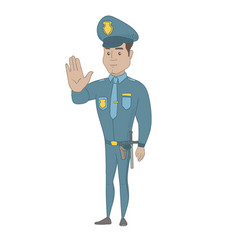 hispanic policeman showing stop hand gesture vector image