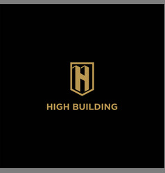 initial letter h high building tower apartment vector image