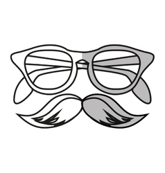 Isolated hipster glasses and mustache design vector