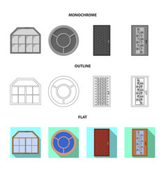 Isolated object of door and front sign set of vector