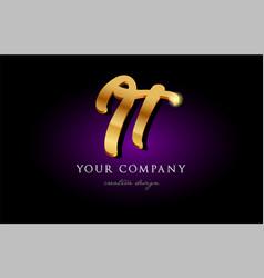 It i t 3d gold golden alphabet letter metal logo vector