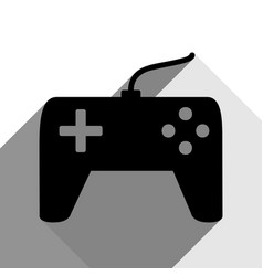 joystick simple sign black icon with two vector image