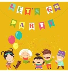Kids celebrating birthday vector