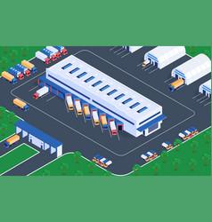 logistics warehousing isometric view vector image