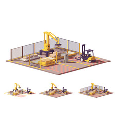 low poly robotic palletizing cell vector image vector image