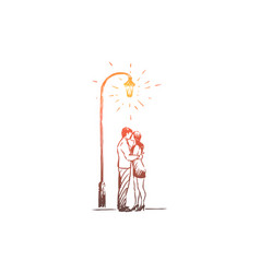 man and woman on date in park romantic evening vector image