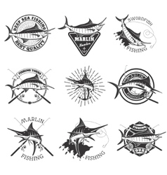 Marlin fishing Swordfish icons Deep sea fishing vector