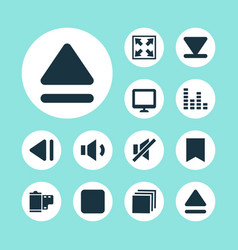 media icons set collection of bottom pause mute vector image
