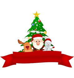 Merry Christmas Snowman family with red ribbon vector image