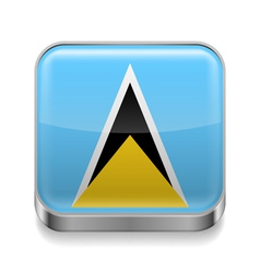 Metal icon of Saint Lucia vector