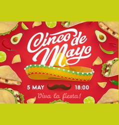Mexican sombrero food cinco de mayo invitation vector