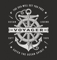 Nautical voyager typography on black background vector