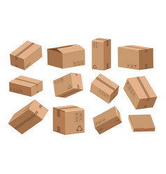 open and closed box cartoon cardboard containers vector image