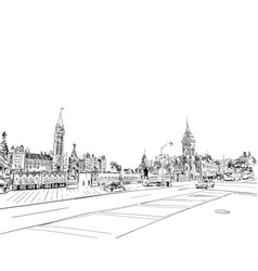 Ottawa canada hand drawn unusual street sketch vector
