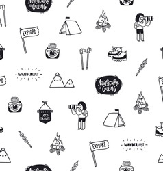 Outdoor adventures doodle pattern vector image