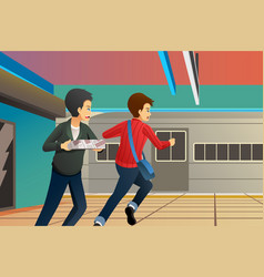 People running late at train station vector