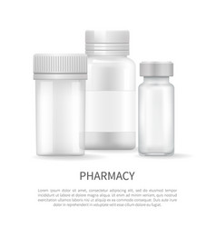 pharmacy poster with plastic silver bottles covers vector image
