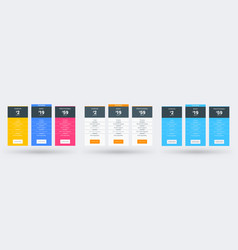 pricing table design template for websites and vector image