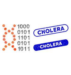 rectangle mosaic dna code with distress cholera vector image