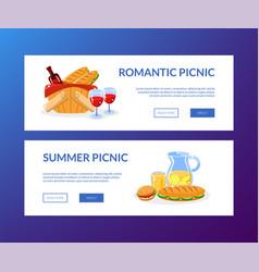 romantic summer picnic horizontal banners set vector image