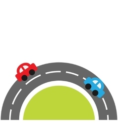 Round road on the bottom and cartoon cars Flat vector