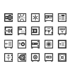 Safe bank cell black silhouette icons set vector