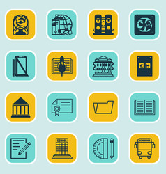 Set 16 education icons includes academy vector
