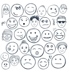 set hand drawn doodle faces emotions vector image